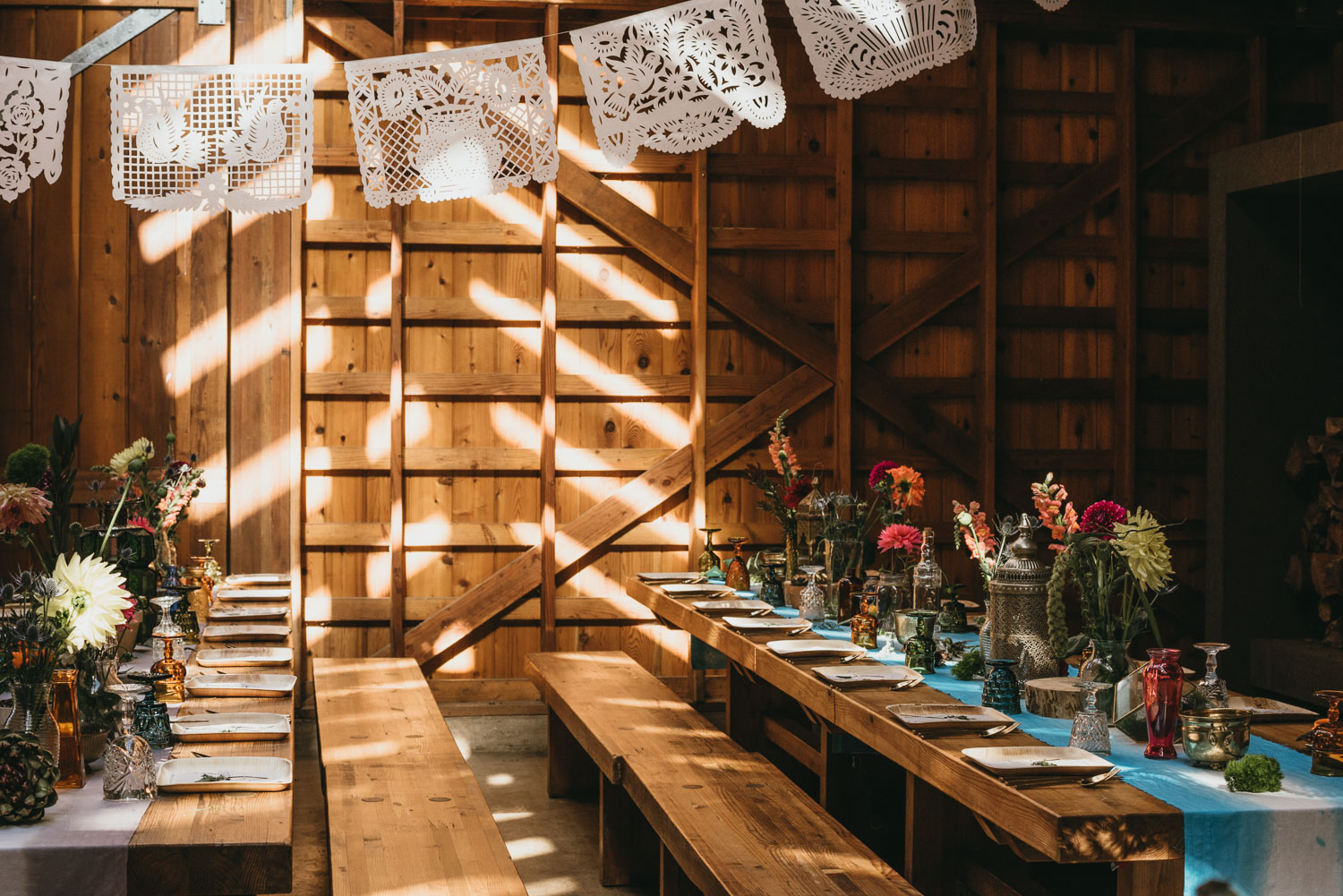 DIY wedding decorations in cabin
